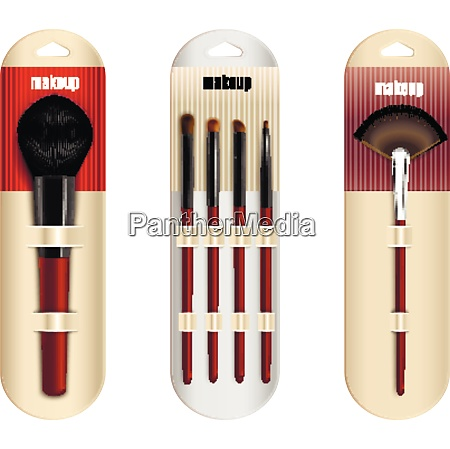makeup brushes package realistic collection of