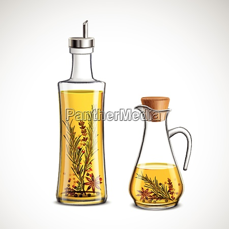 glass bottles realistic set with oil