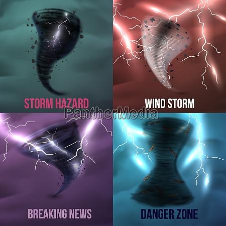 storm hurricane tornado cyclone realistic 2x2