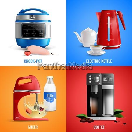 household kitchen appliances 2x2 design concept