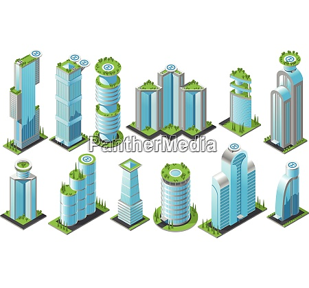 isometric futuristic skyscrapers icon set with
