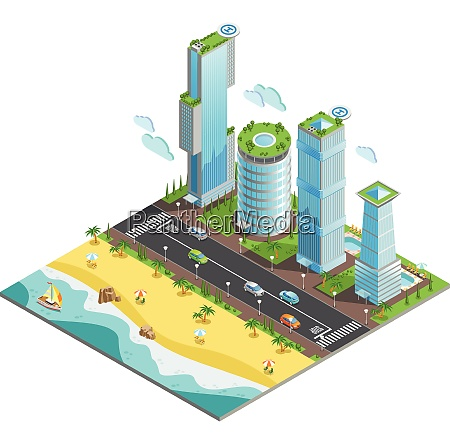 isometric colored futuristic skyscrapers composition with