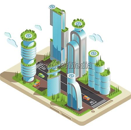 isometric futuristic skyscrapers colored composition part