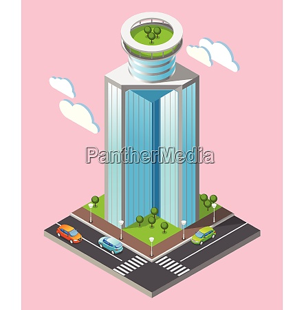 3d isometric futuristic skyscrapers composition with