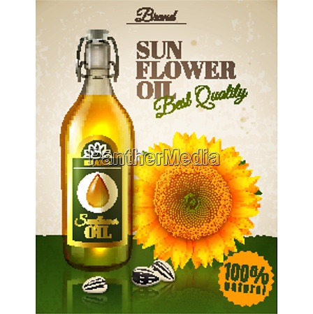 realistic sunflower oil natural product in