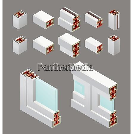 pvc windows isometric frame elements in