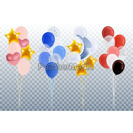 party balloons realistic transparent set with