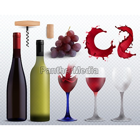wine realistic transparent set with grapes