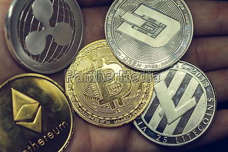 monete, criptovaluta, -, litecoin, bitcoin, ethereum, denaro, virtuale - 27154766