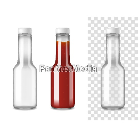 closed glass bottles for ketchup on