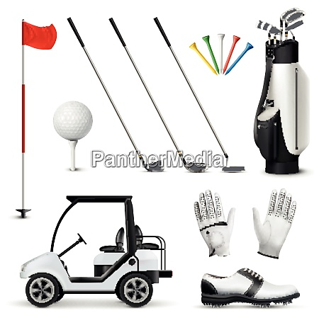 realistic set of golf equipment and