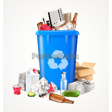 trash and waste concept with food
