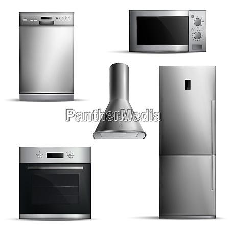 set of realistic kitchen appliances of