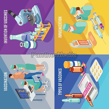 vaccination isometric 2x2 design concept with