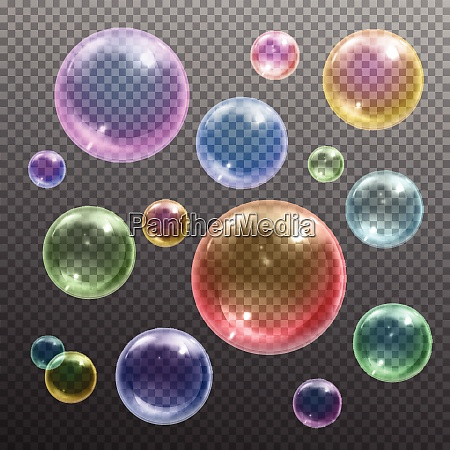iridescent colored shiny various sizes round