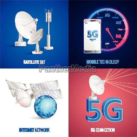futuristic mobile technology 2x2 design concept