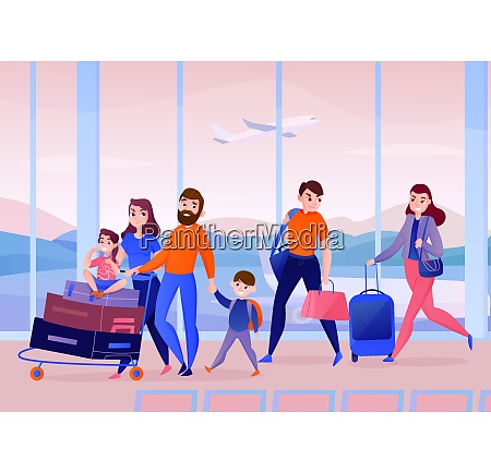 travelers with luggage inside air port
