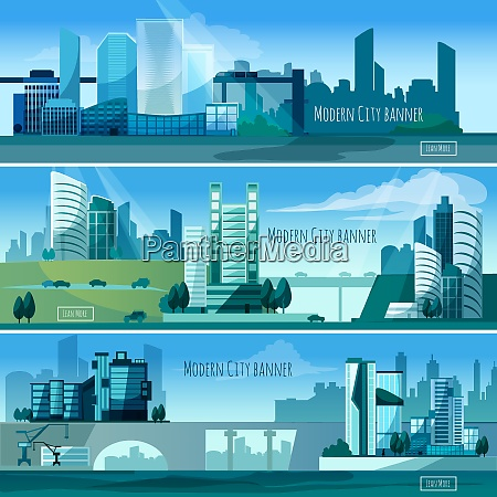 modern cityscapes horizontal banners set with