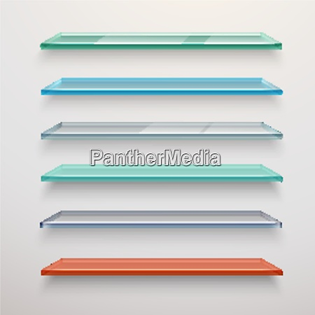 realistic colored transparent glass wall shelves