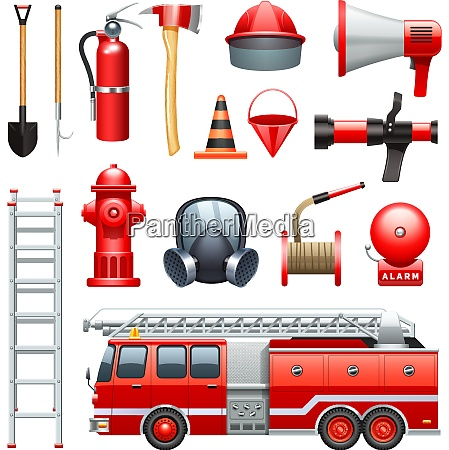 firefighter tools equipment and engine red