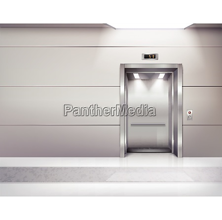 realistic empty elevator hall interior with