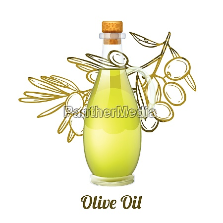 olive oil concept with realistic glass