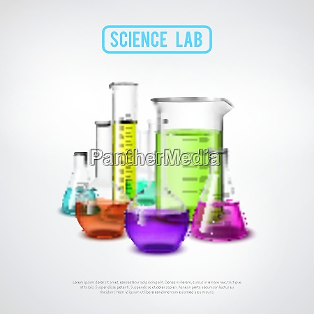 laboratory equipment composition with realistic glass
