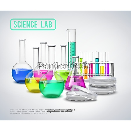 laboratory bottles composition with color liquids