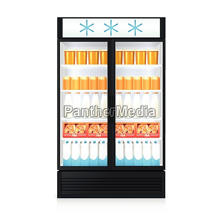 freezer realistic template with food drink