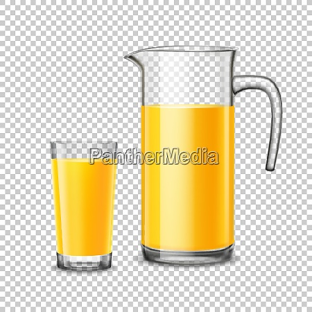 glass and pitcher with orange juice