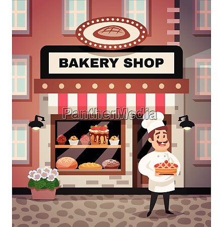 bakery shop design concept with chef