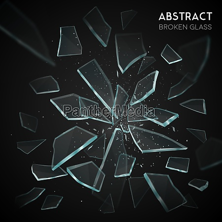 broken glass shatters various geometric forms