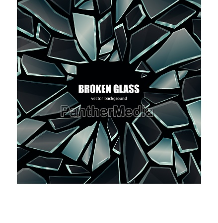 broken glass dark shiny realistic fragments