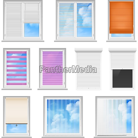 window blinds colored flat set for