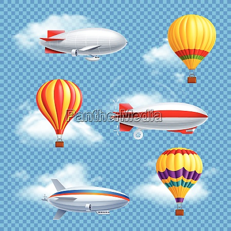 realistic colored airship icon set air
