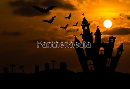 silhouette del castello nella notte di