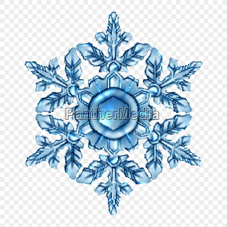 light blue and realistic snowflake transparent