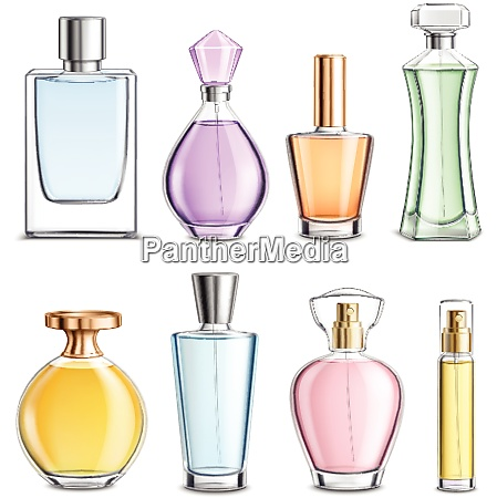 perfume glass bottles various shapes caps