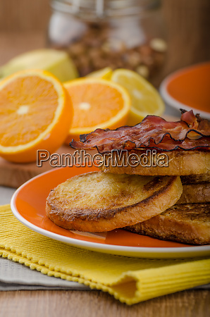 french toast with bacon and fresh