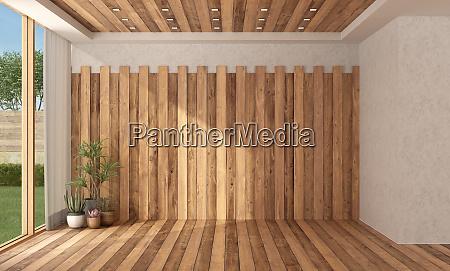 camera vuota con parete in legno