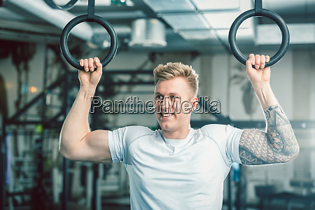 handsome young man with strong arms