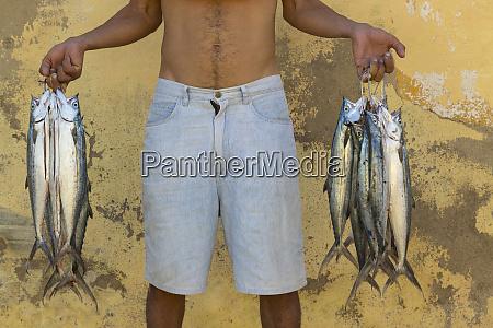 cuba trinidad fish vendor on the