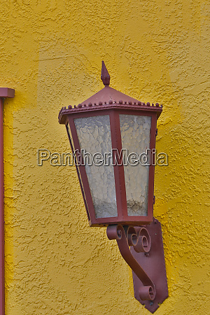 lamps on colorful building in the