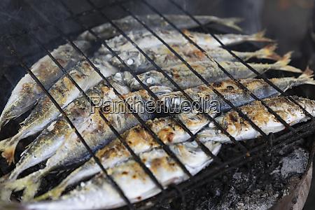intera sardine che cucina su griglia