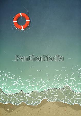 anello, di, vita, che, galleggia, nell'acqua - 27357476