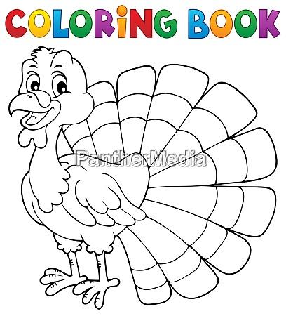 libro da colorare tacchino uccello tema