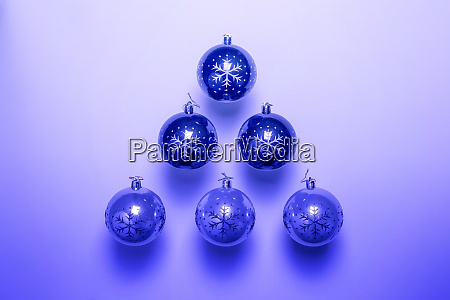 blue christmas balls isolated on blue