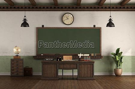 aula vuota in stile retro con