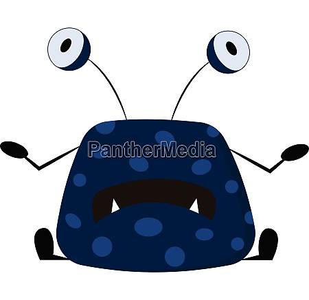 blue monster with big eyes vector