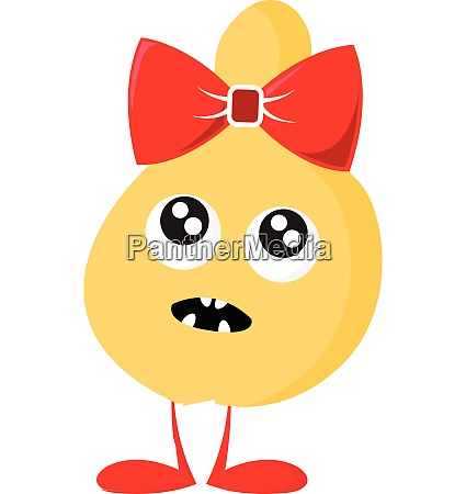 monster with red bow vector or